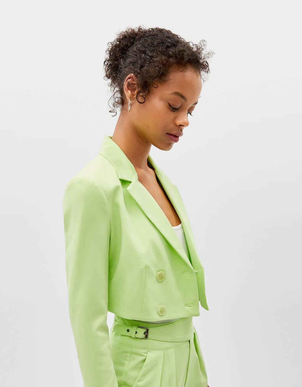 Veste tailleur courte fluo