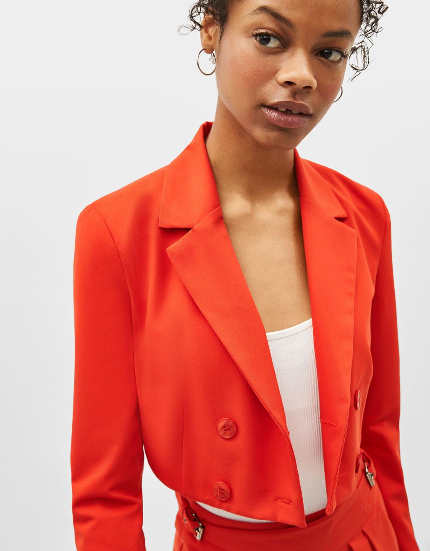 Cropped neon blazer
