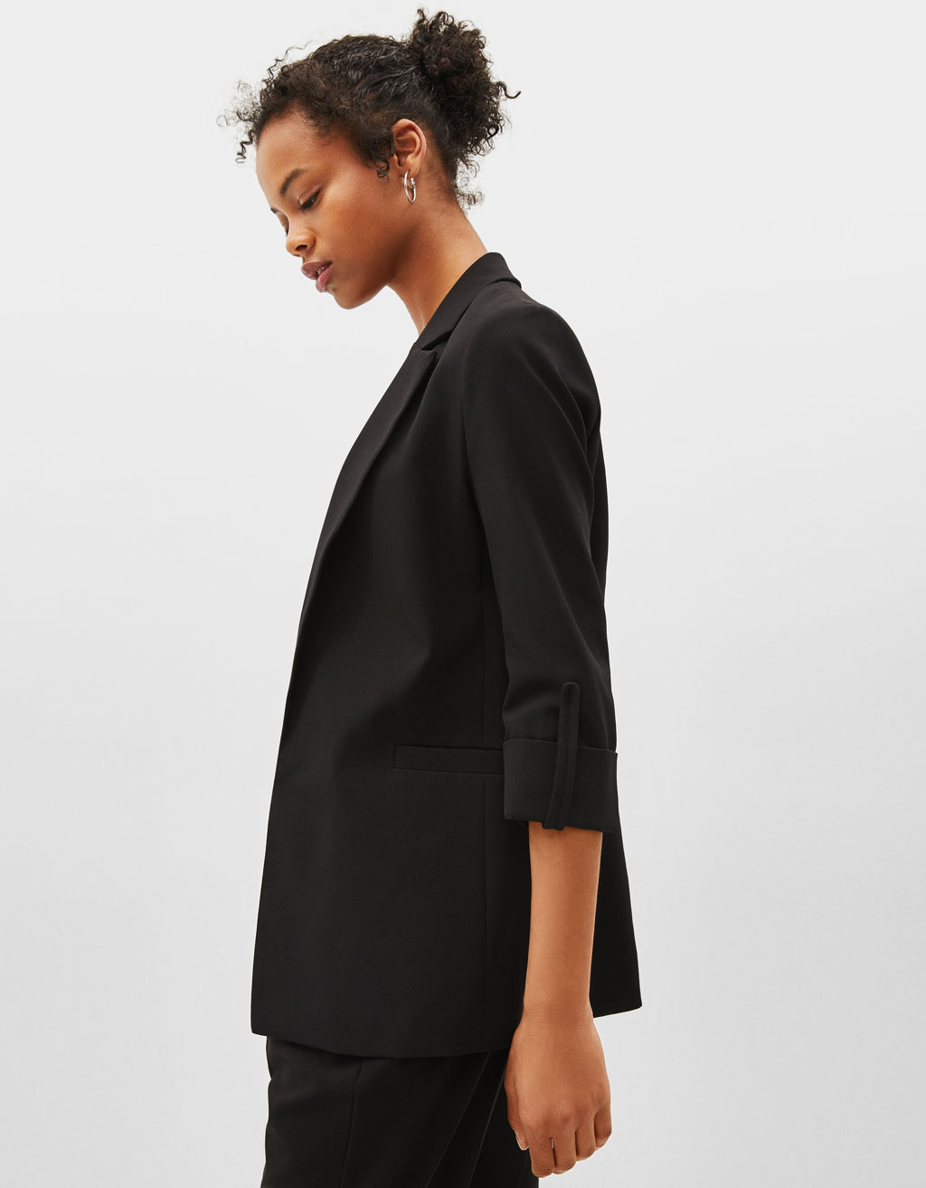 Blazer with rolled-up sleeves