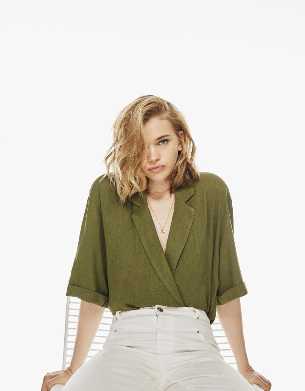 Linen kimono-style blazer