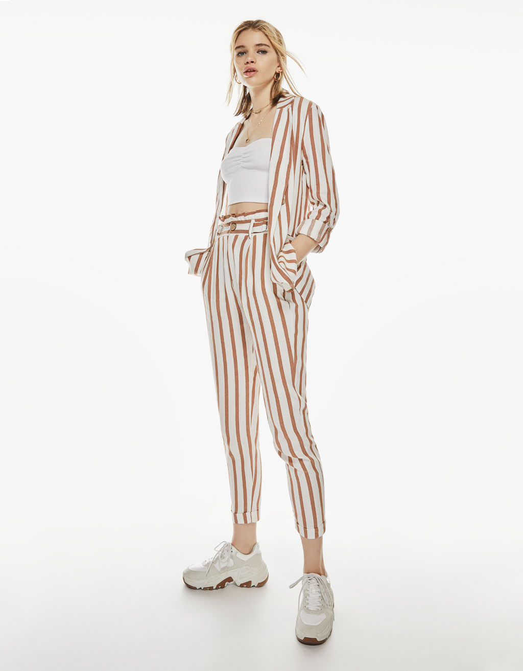 Striped blazer with 3/4 rolled-up sleeves