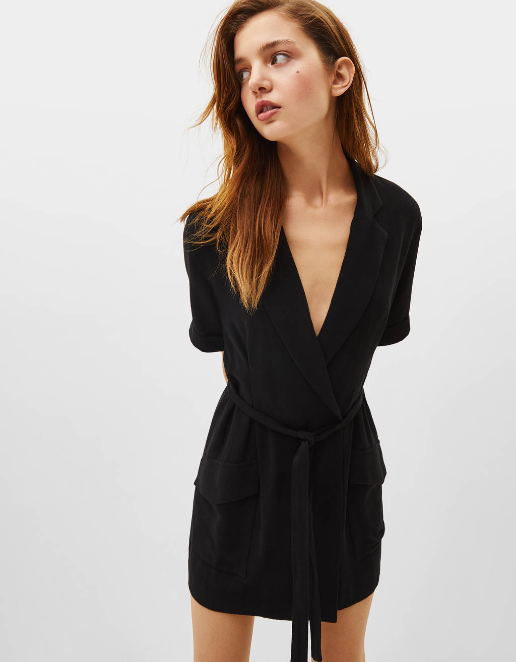 Blazer-style dress with tie detail