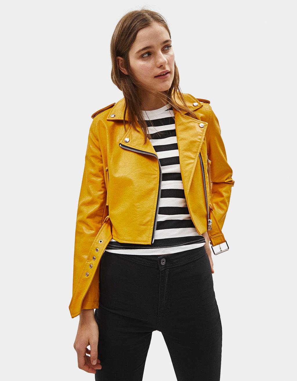 Cropped faux leather biker jacket