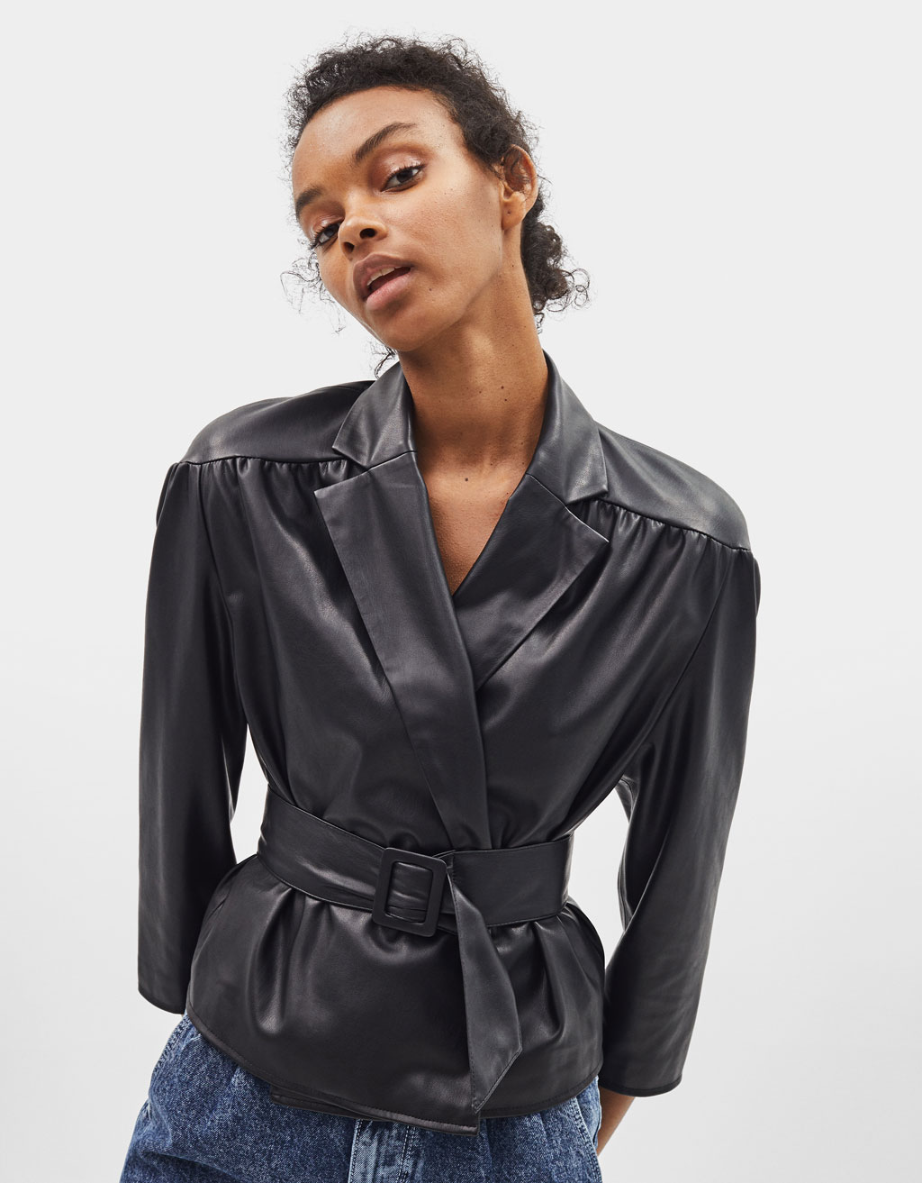 Faux leather jacket with shoulder pads