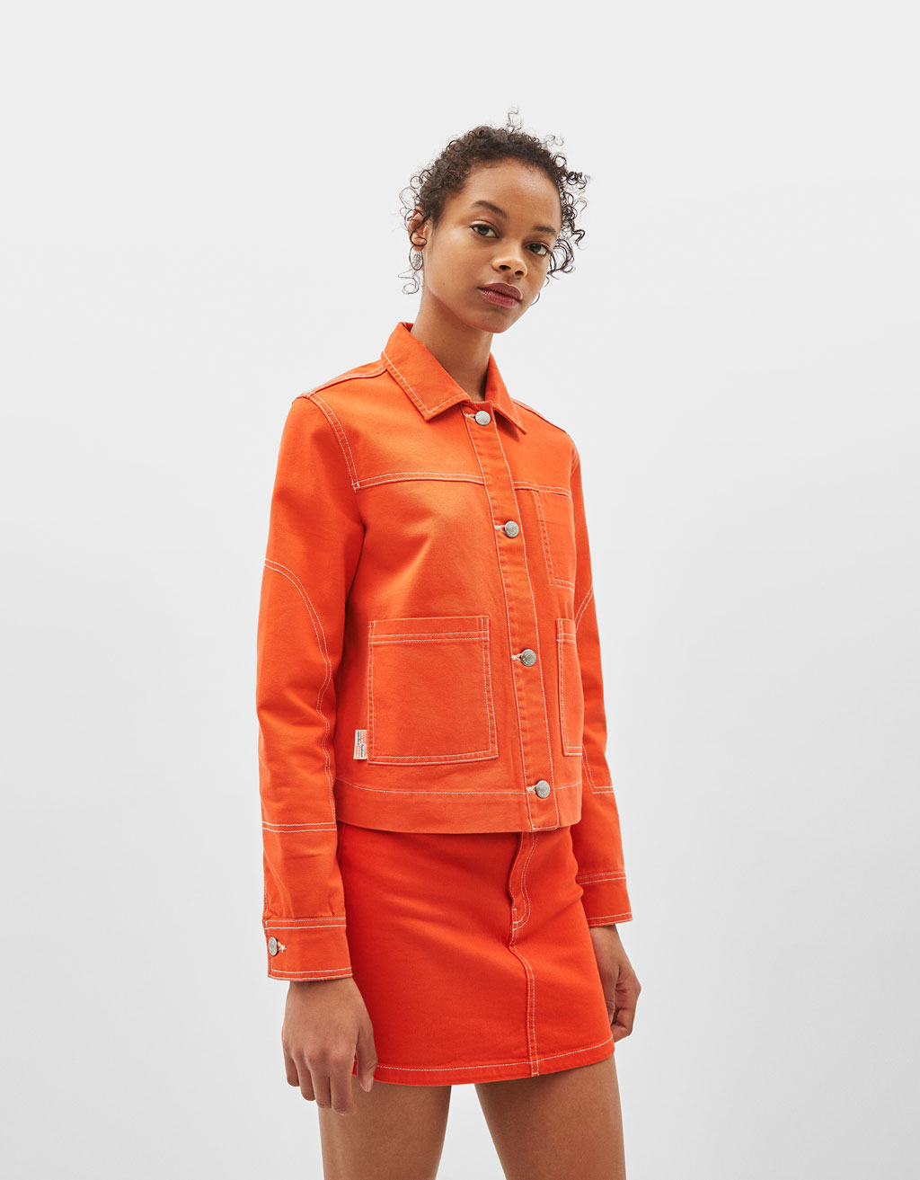 Utility jacket with contrast seams