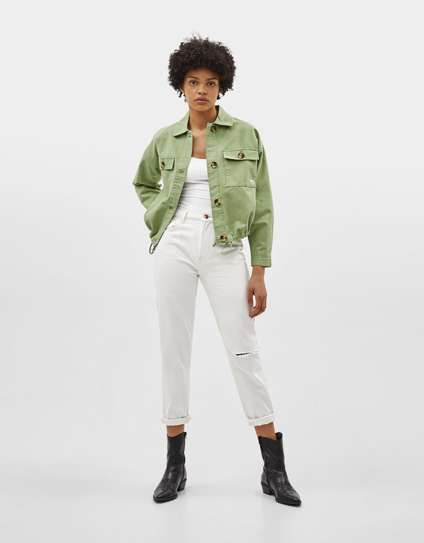 Utility jacket with drawstring hem