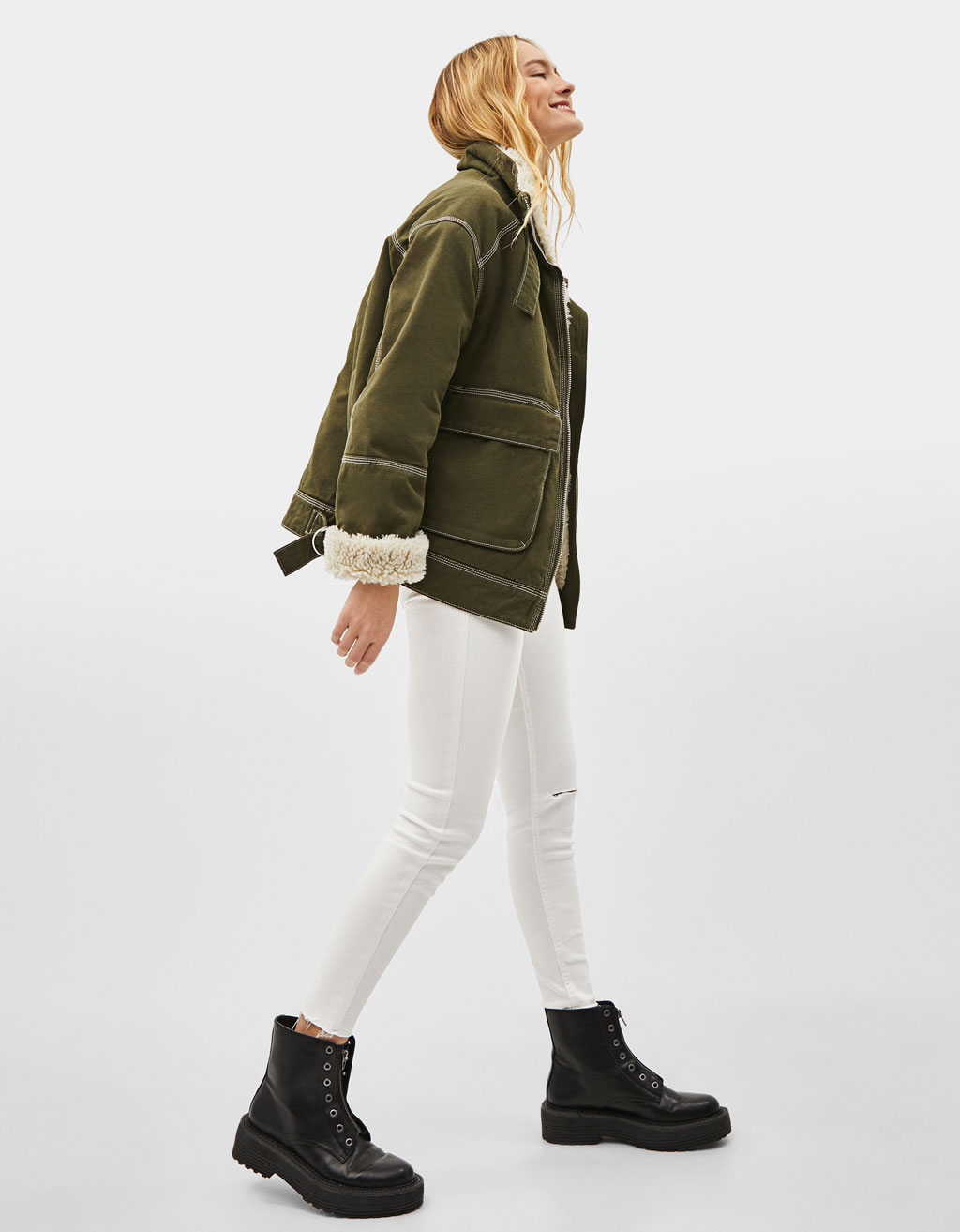 Utility jacket with faux shearling
