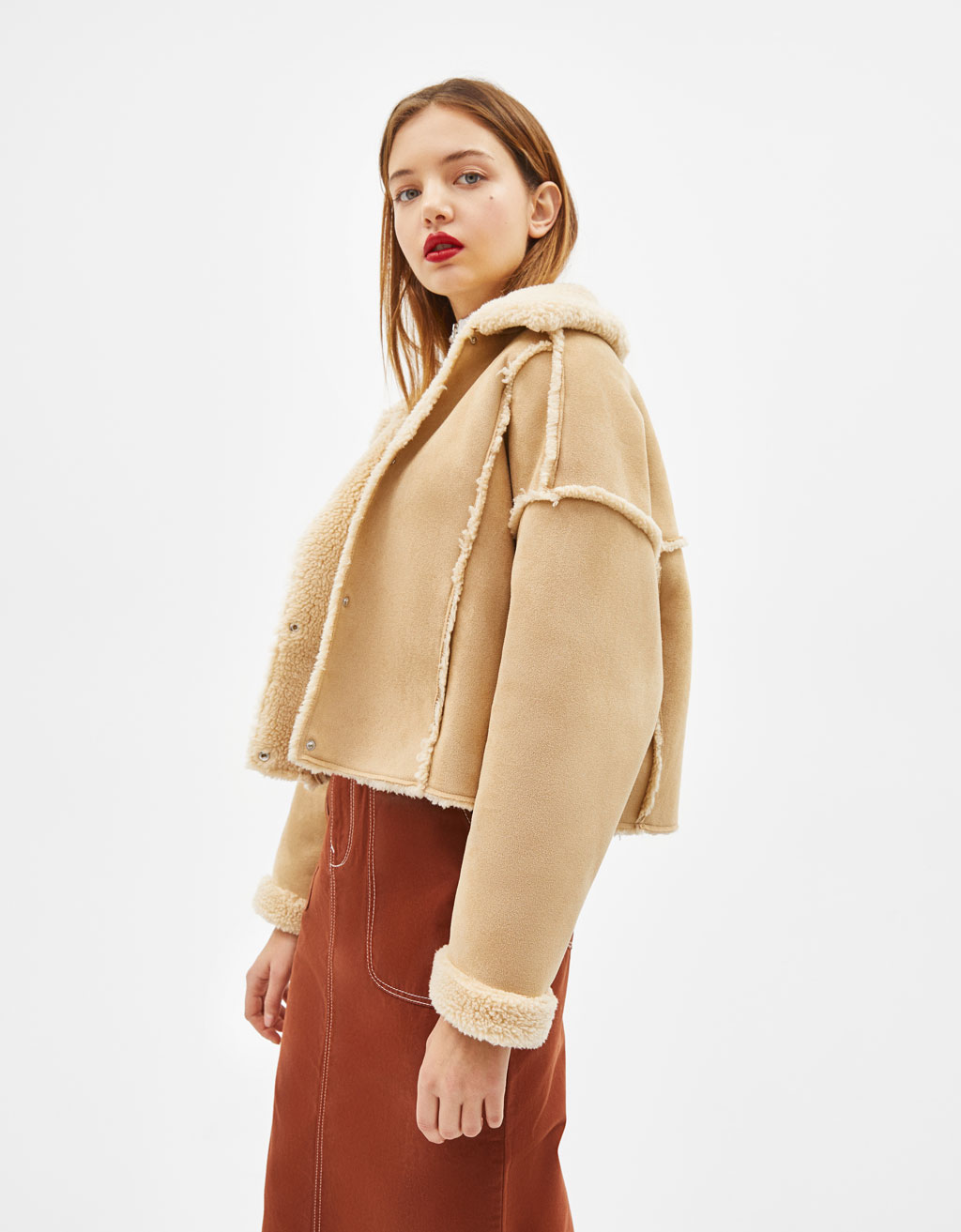Faux suede jacket with faux shearling trims