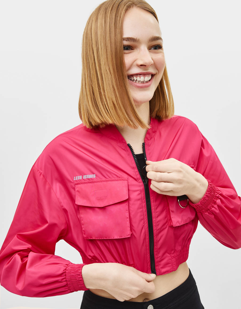 Cropped nylon bomber jacket