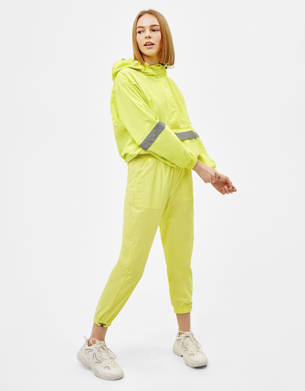 Foldaway jacket with reflective sections