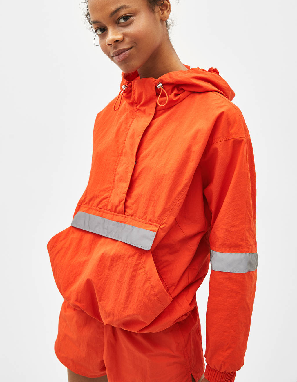 Foldaway jacket with reflective panels