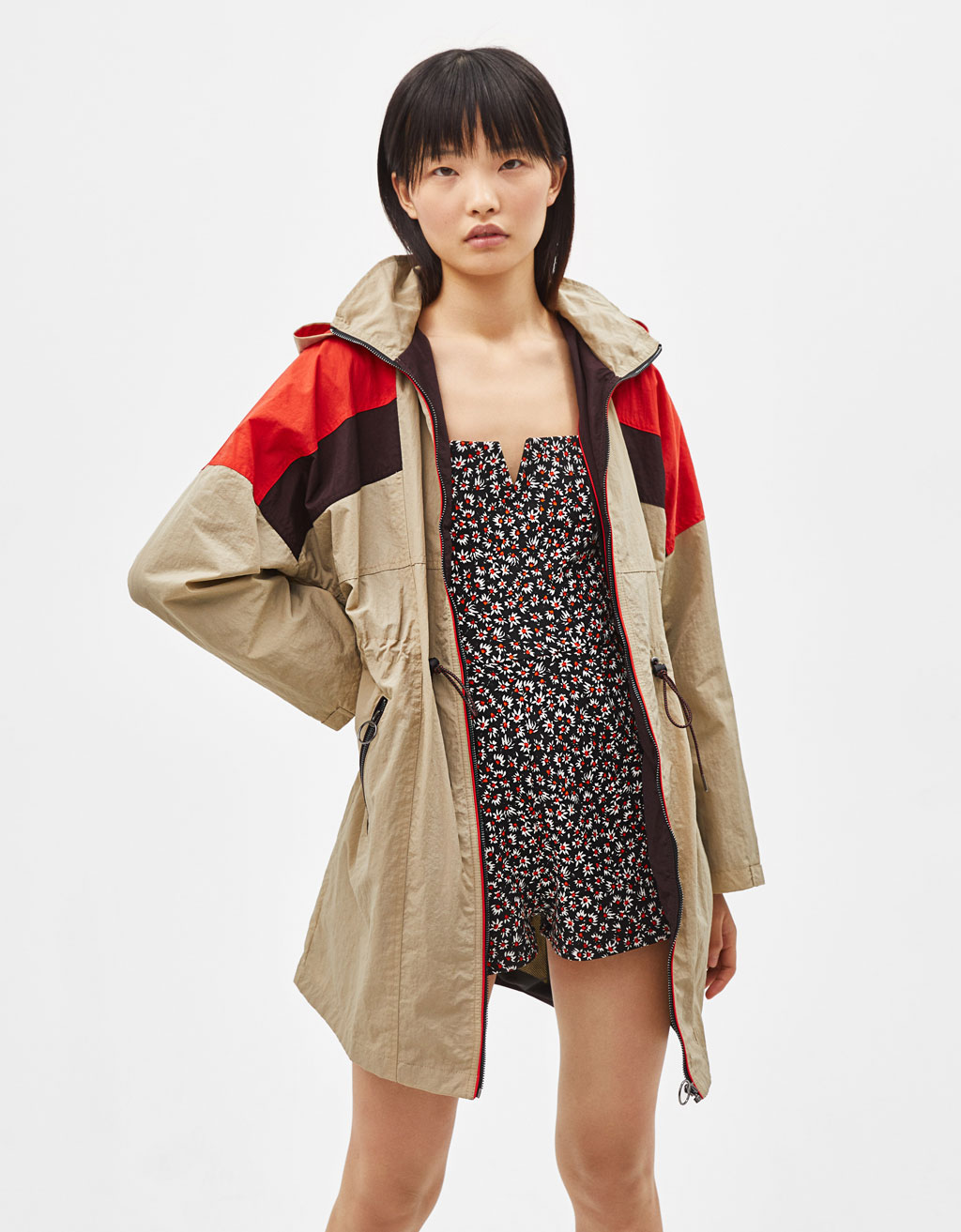 Colour block nylon parka