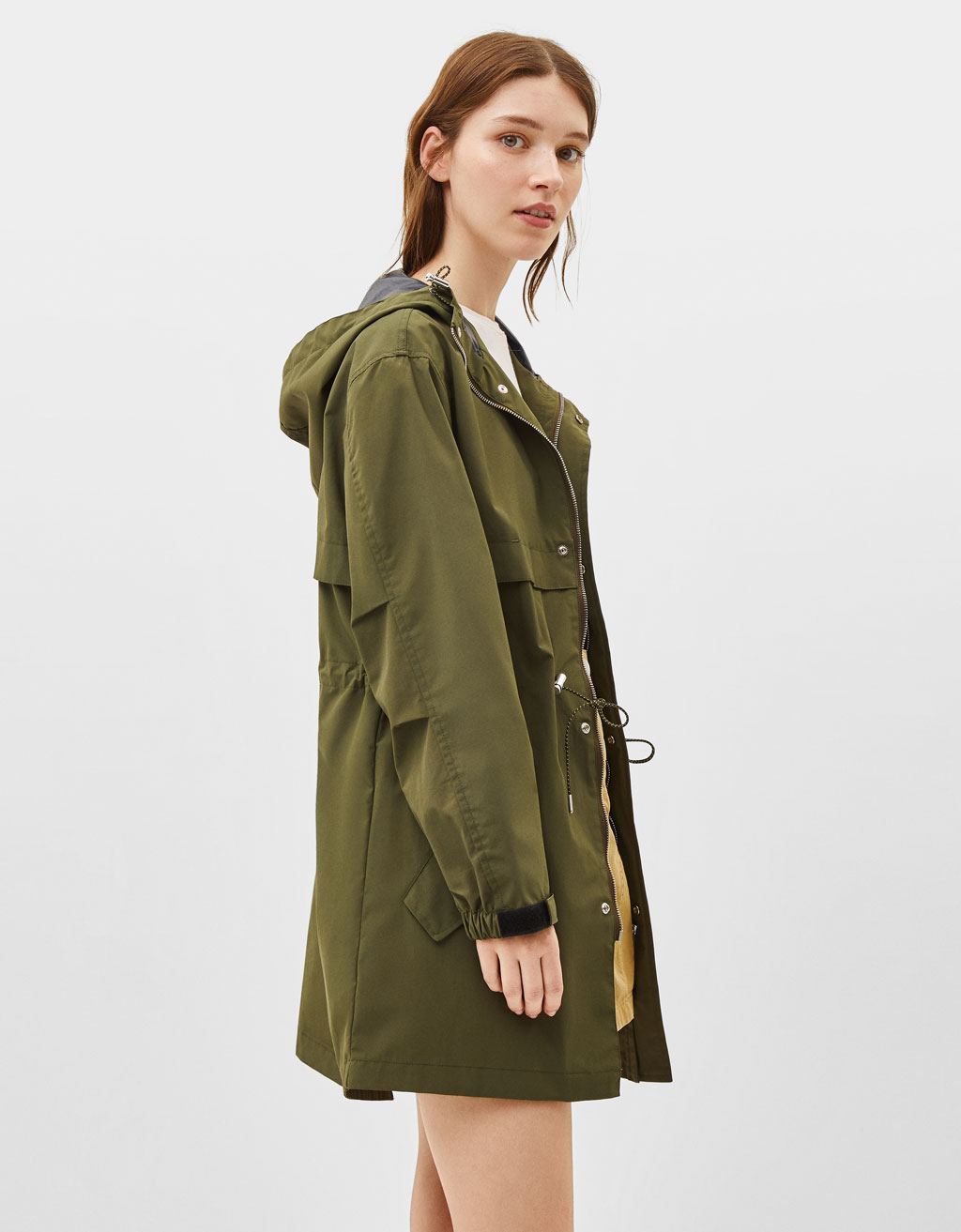Water-resistant parka-style raincoat