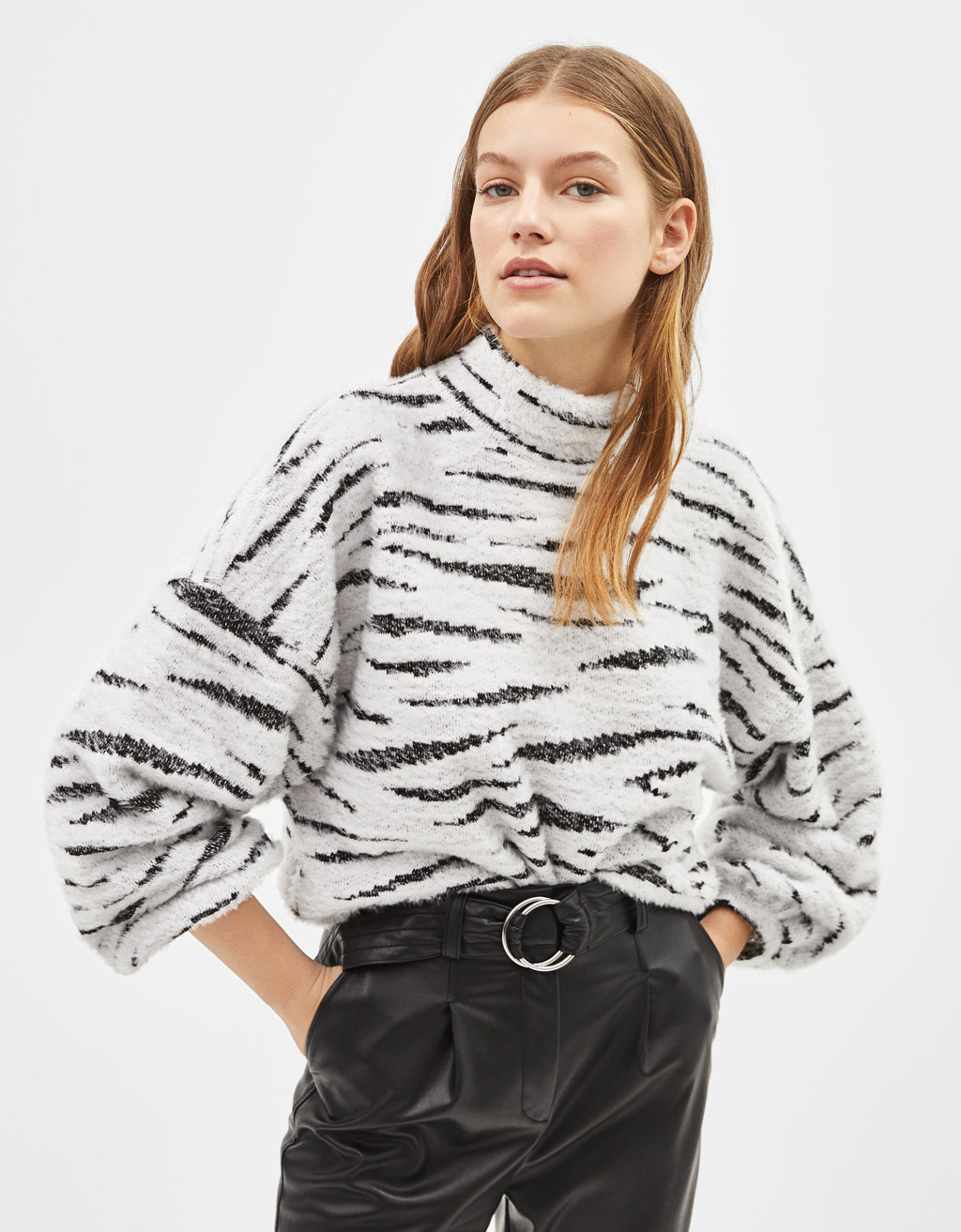 Fuzzy jacquard sweater