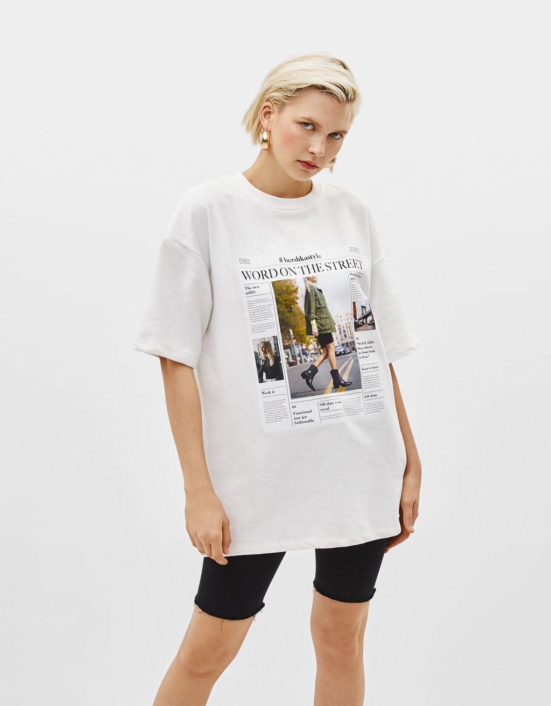 Sweatshirt med print og korte ærmer