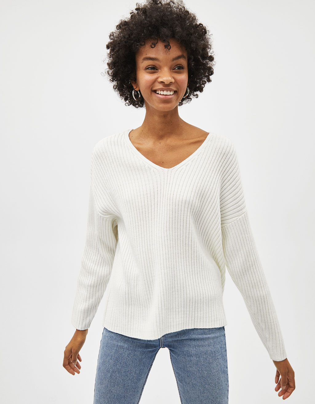 Oversized V-neck sweater