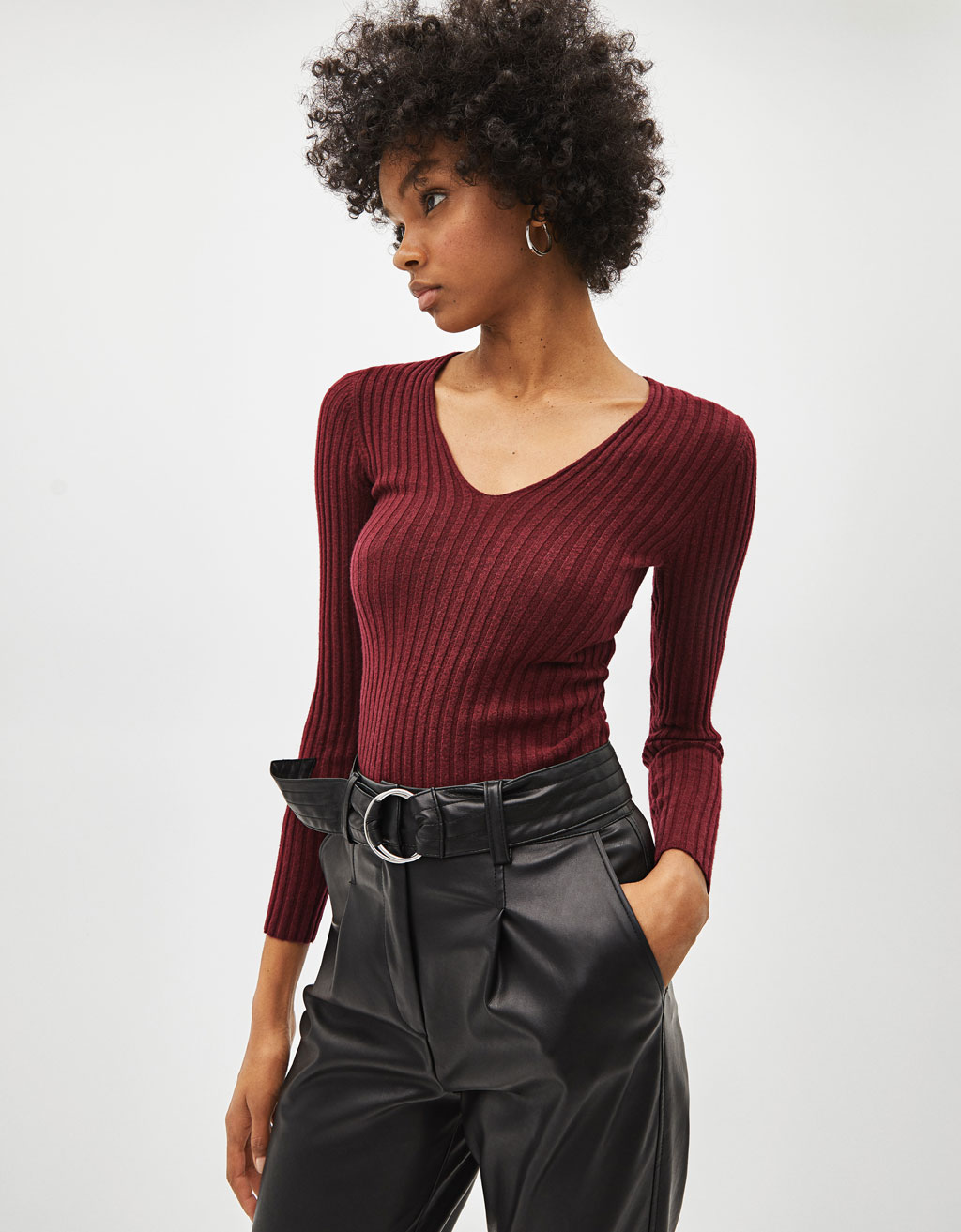 V-neck ribbed sweater