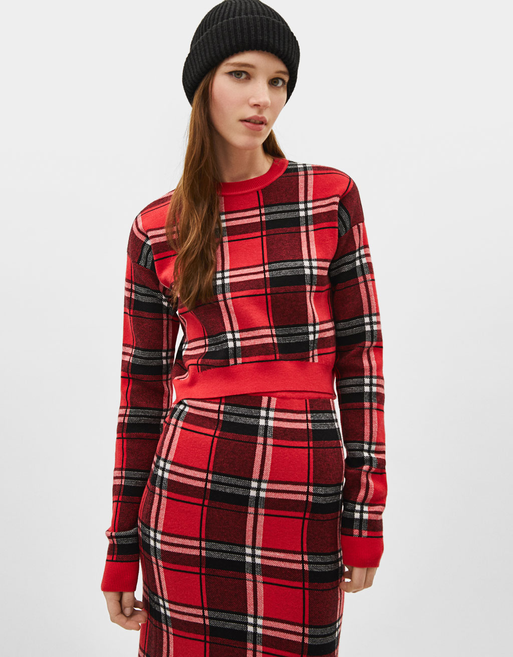 Cropped check print sweater