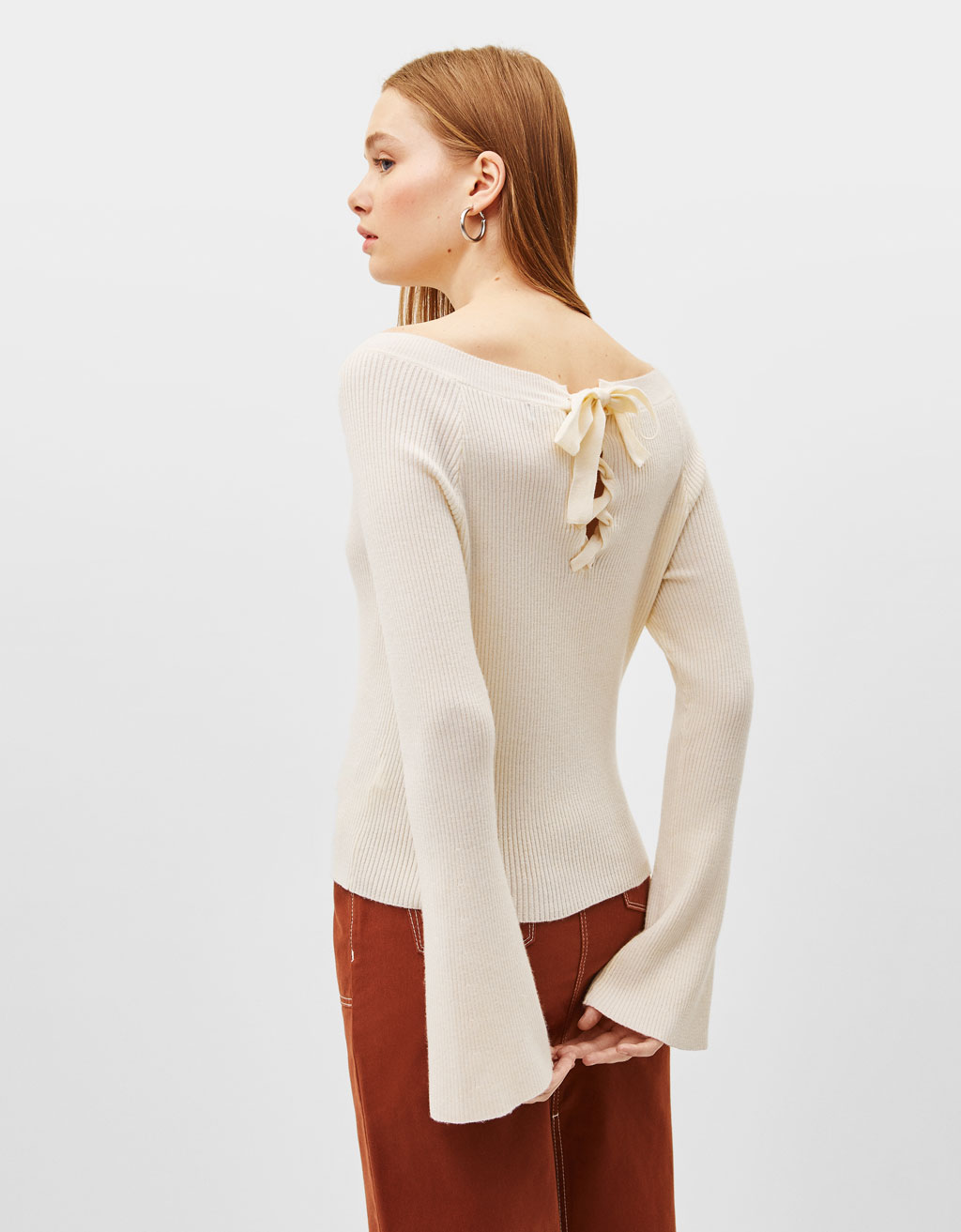 Long bell sleeve sweater