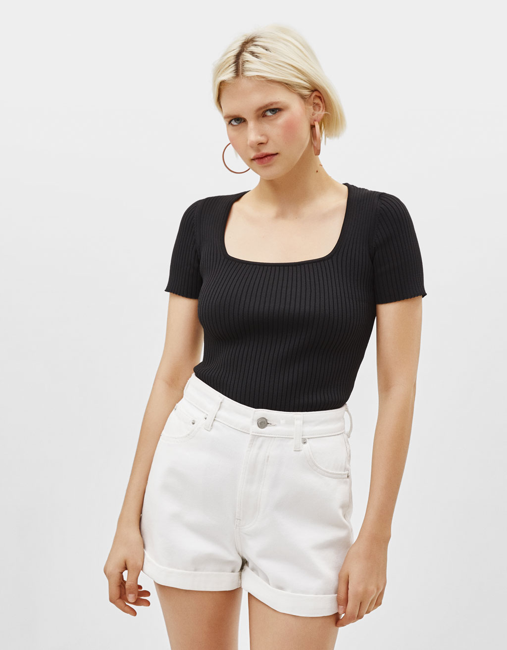 Top with square-cut neckline