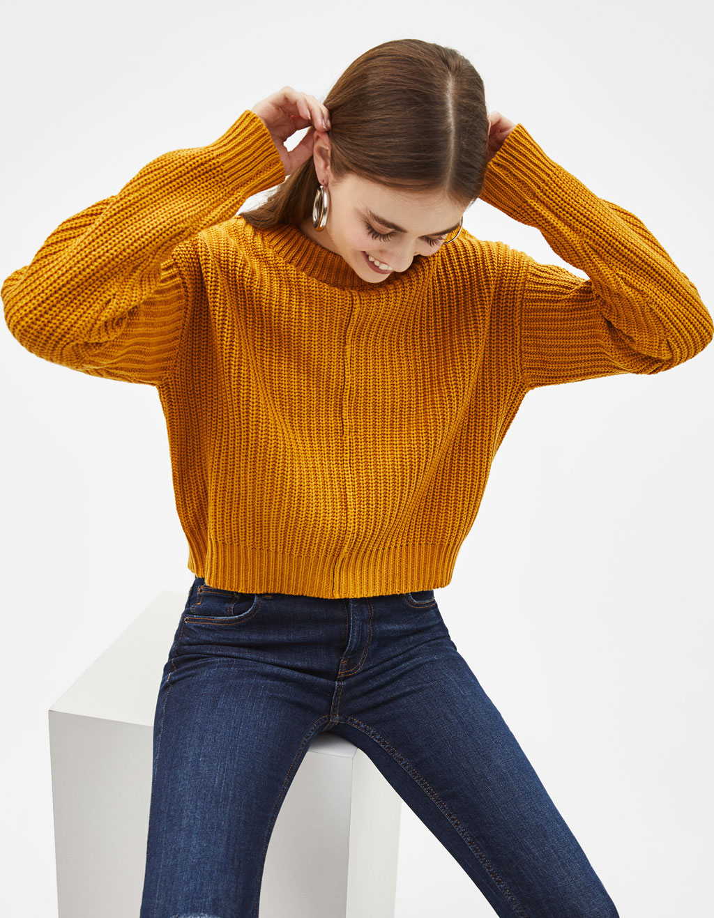 Knitted Sweater With Defined Seams by Bershka