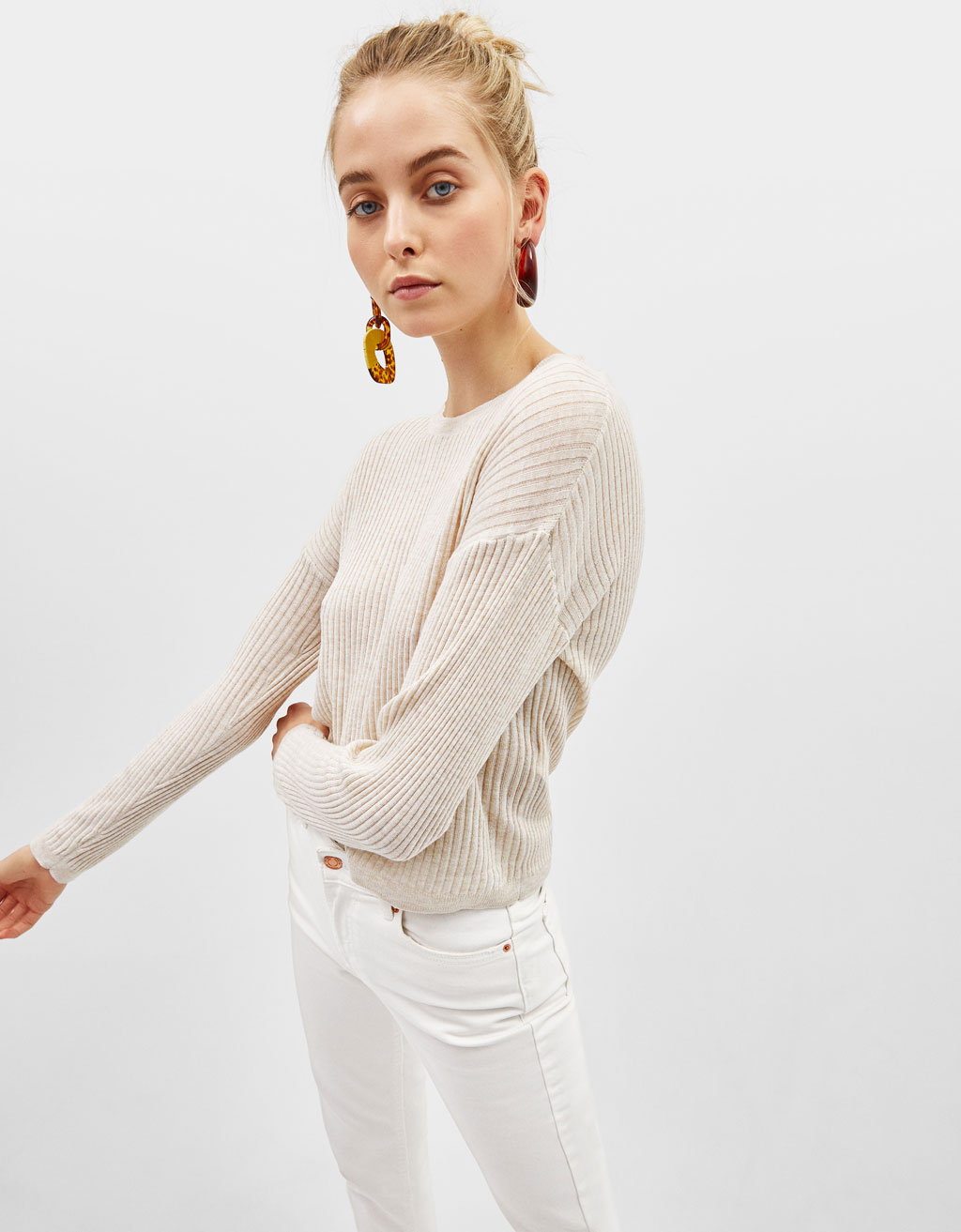 a63673b496 High neck sweater. 12.99. Ribbed knitted sweater
