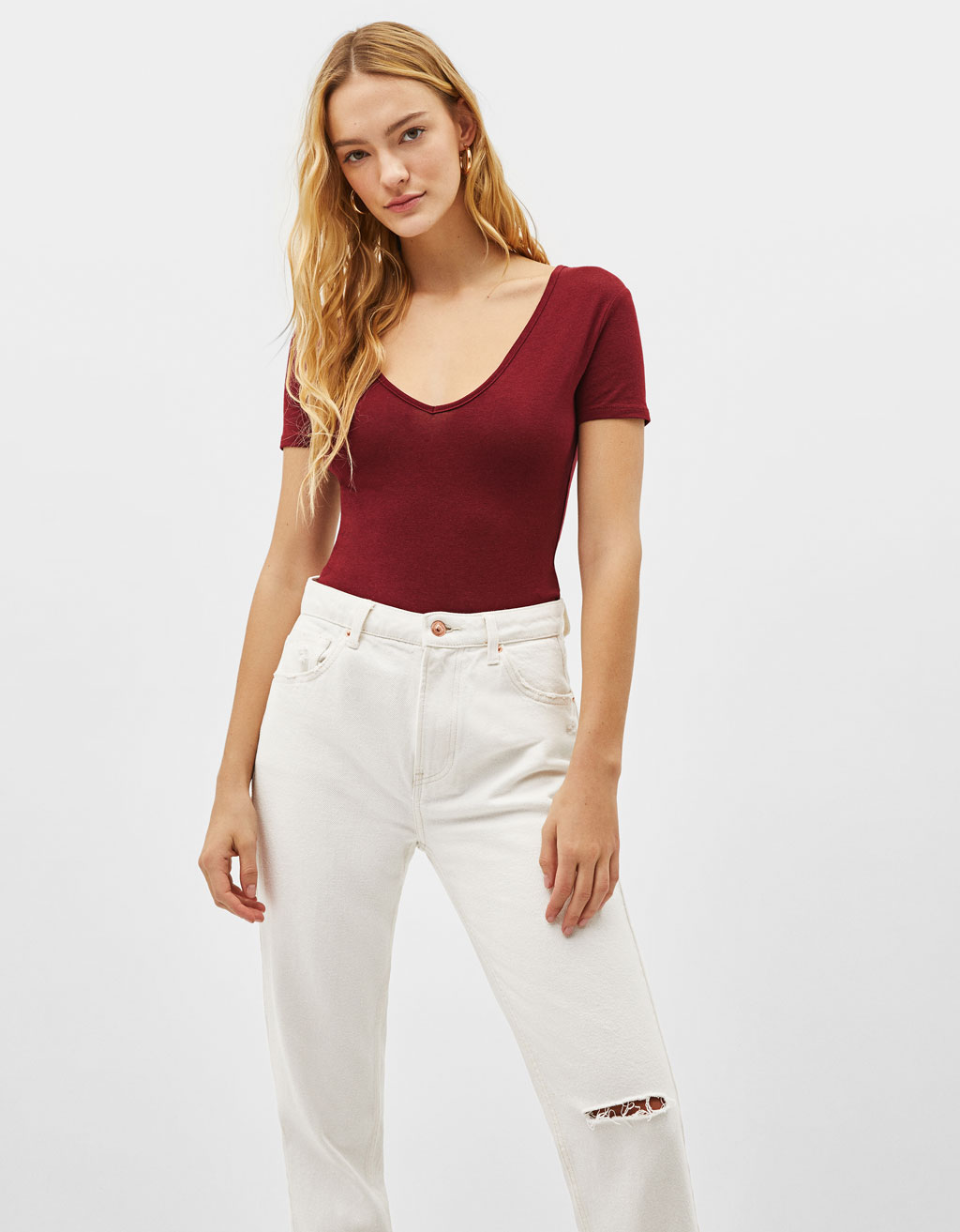 V-neck stretch T-shirt