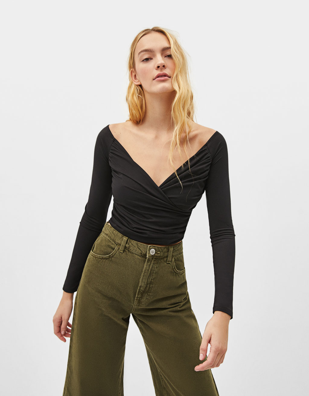 Cropped T-shirt with draping