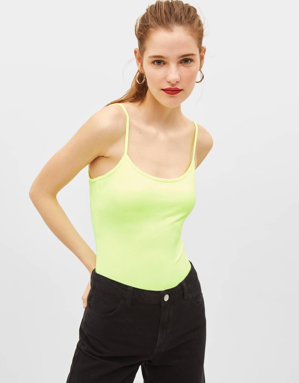 Strappy neon bodysuit