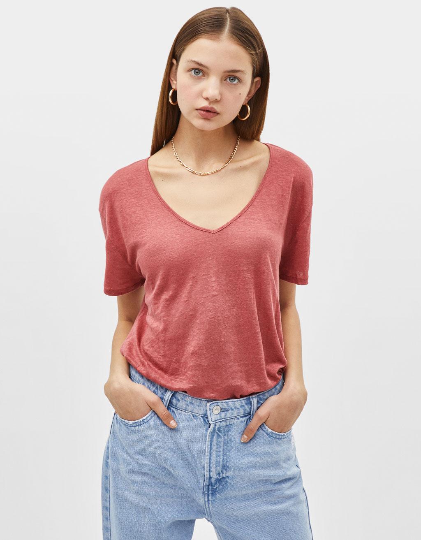 V-neck linen top