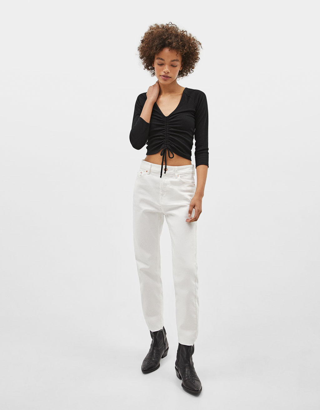 Ribbed top with gathering