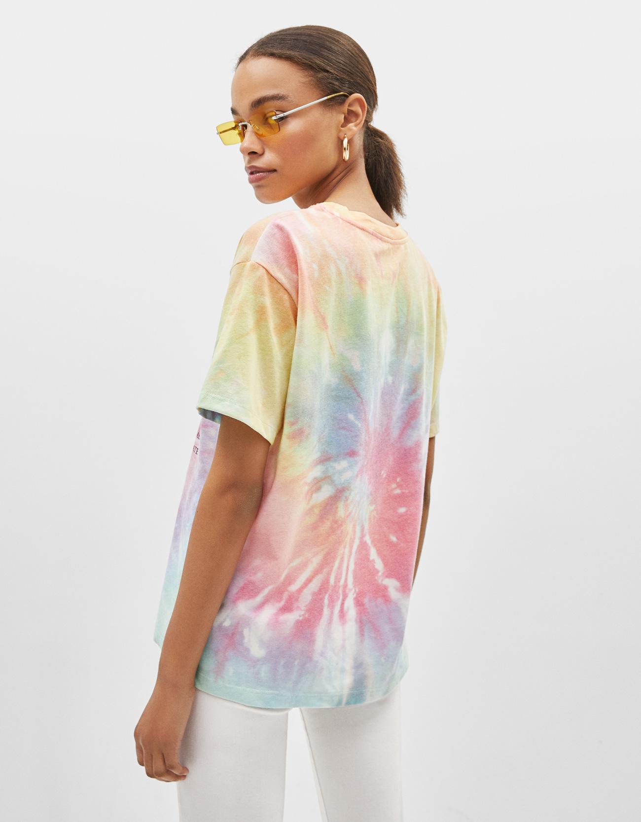 f48e1332f Tie-dye T-shirt with slogan print - Denim Collection - Bershka Georgia