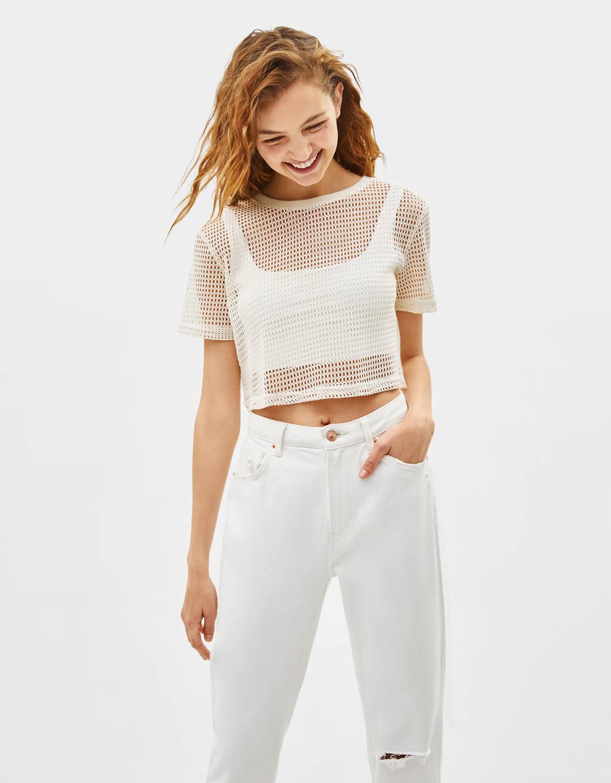 Cropped mesh T-shirt