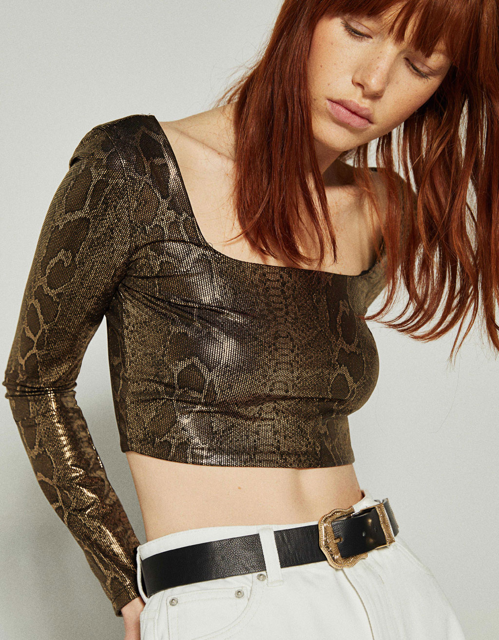 Metallic snakeskin print top