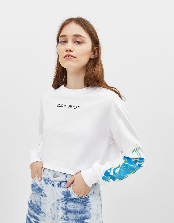 T-shirt imprimé flammes fluo
