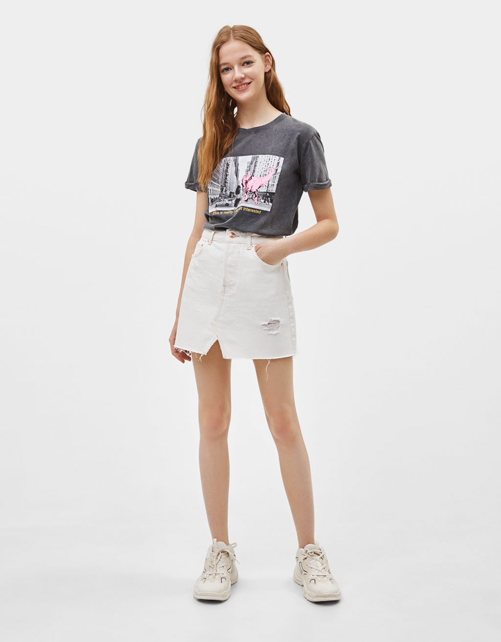 Faded effect T-shirt with print