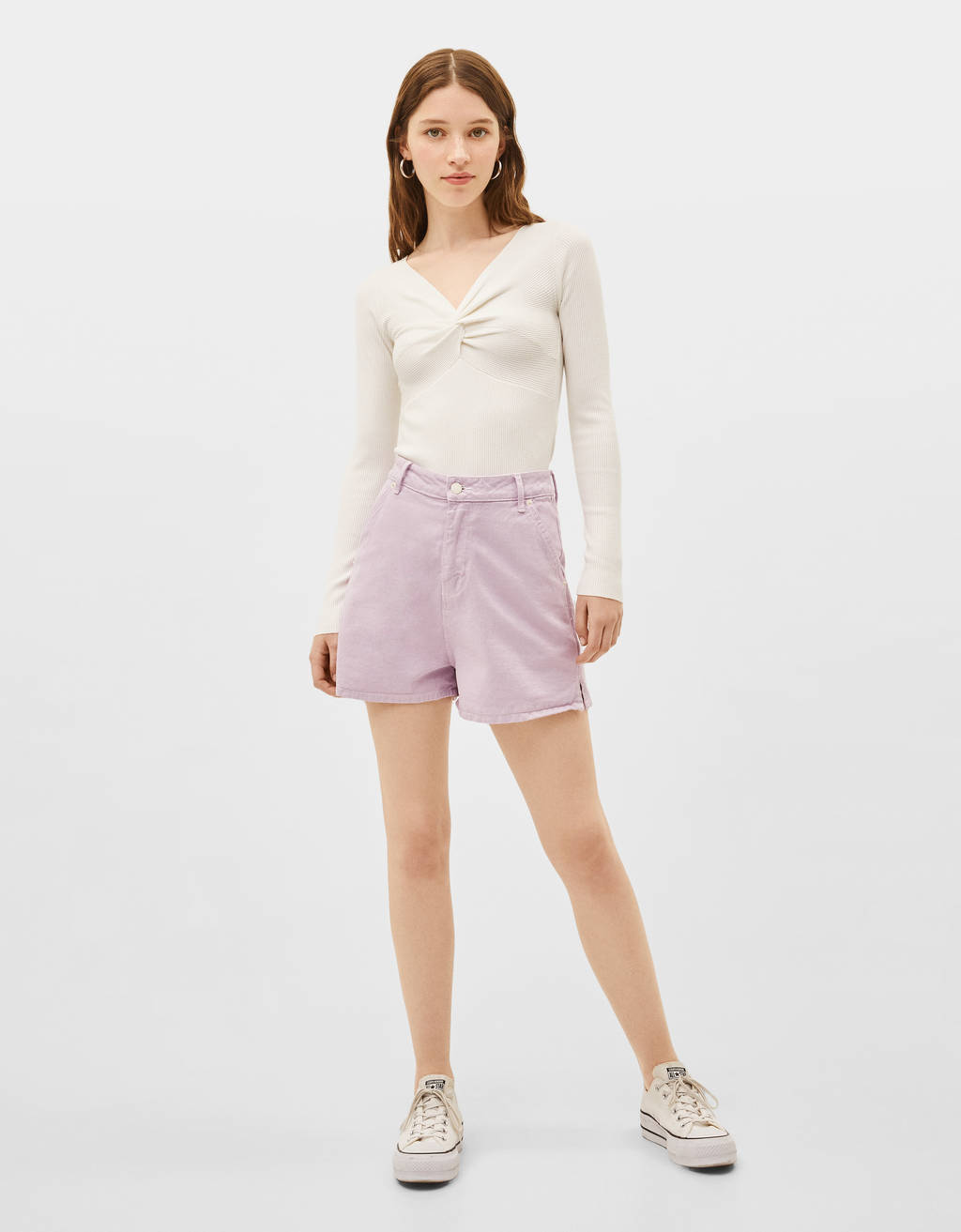 High-rise Bermuda shorts
