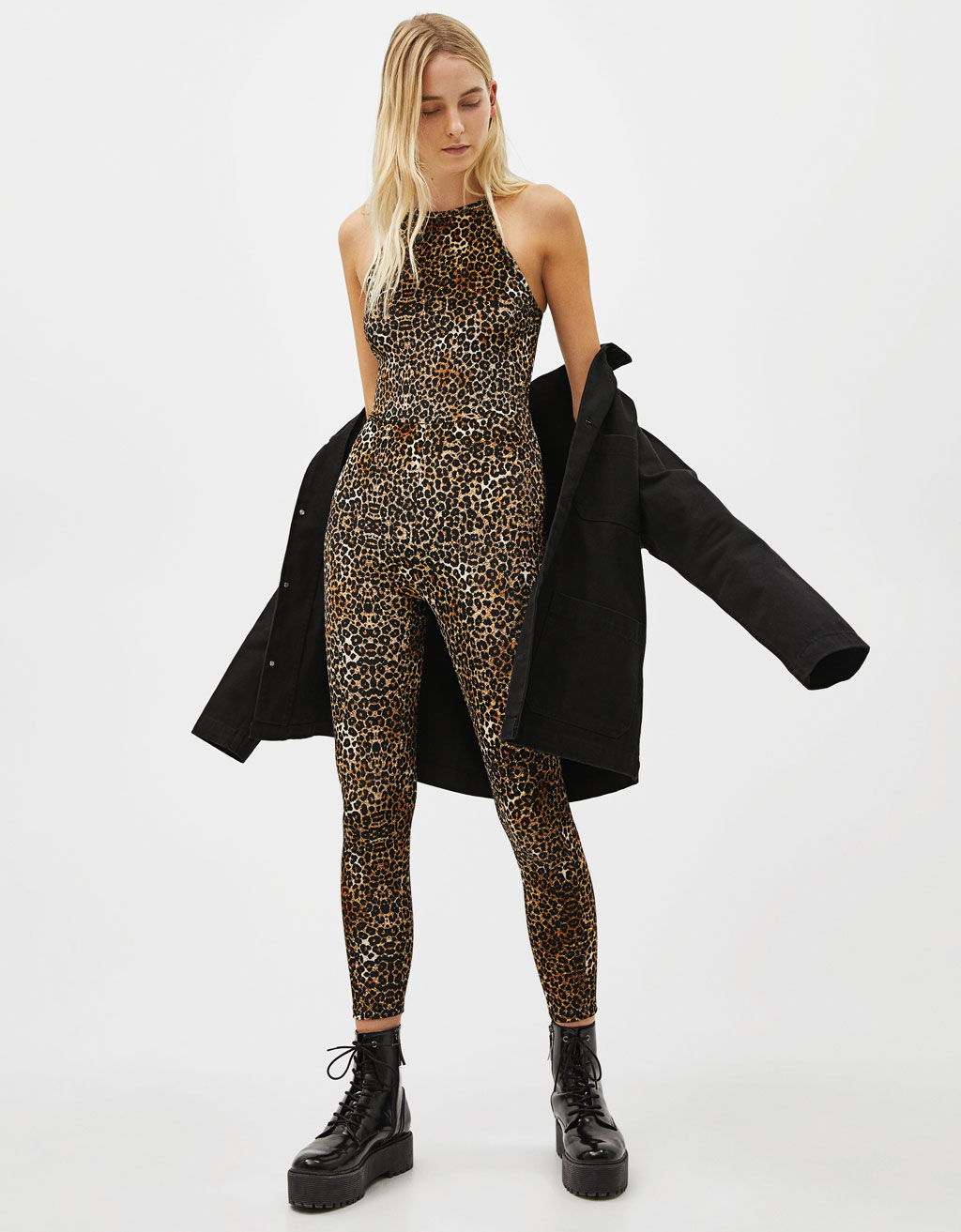 Fitted leopard print jumpsuit