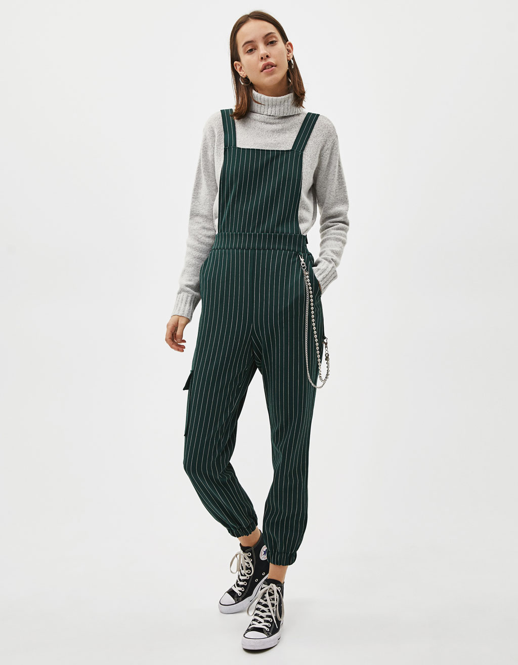 Utility jumpsuit with chain