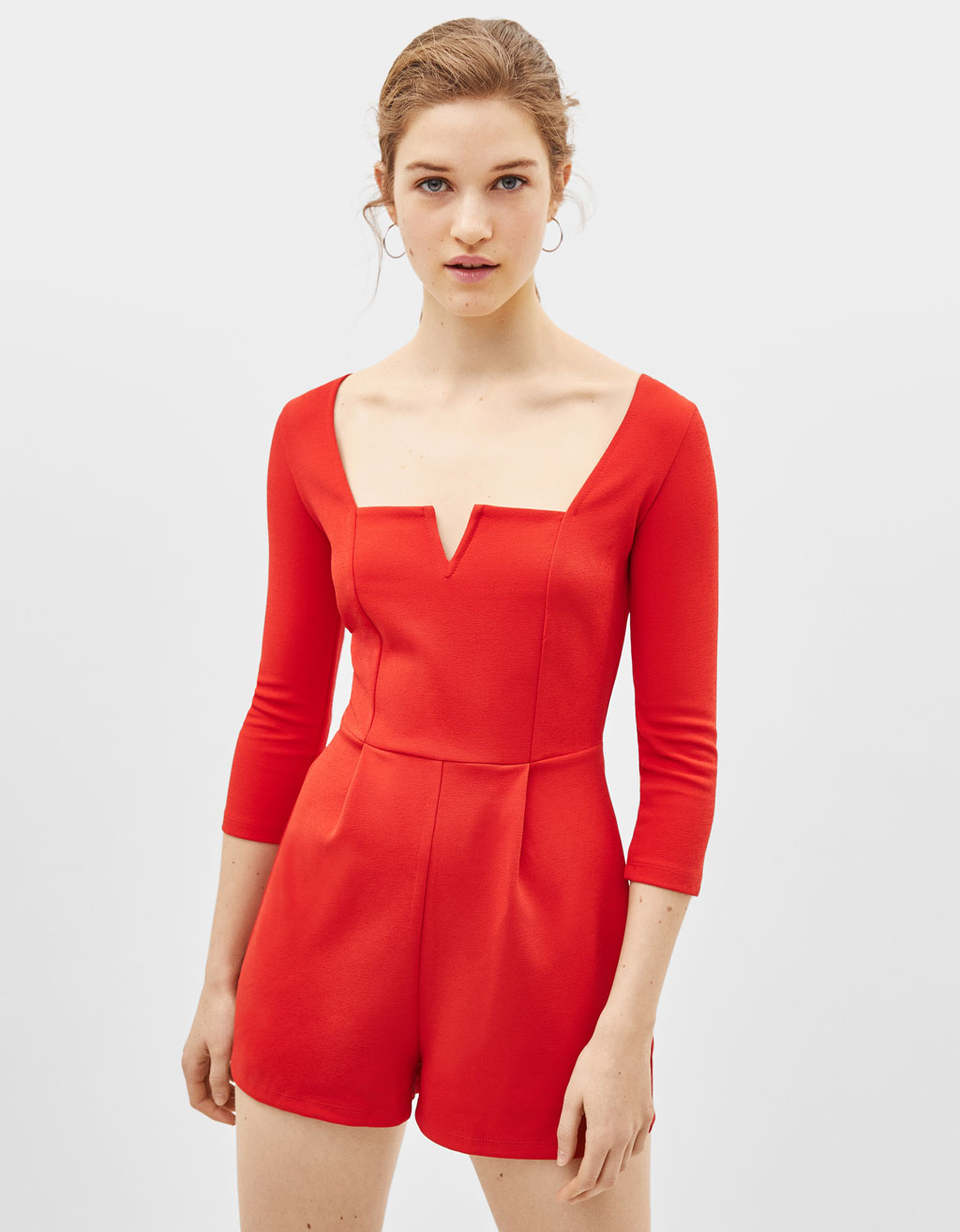 Playsuit with notched square neckline