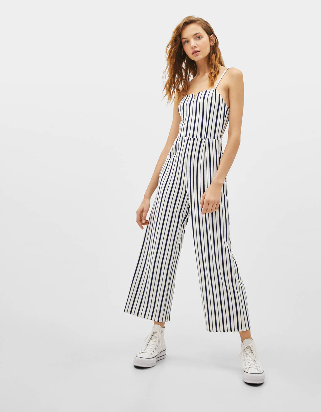 Striped long jumpsuit with square-cut neckline