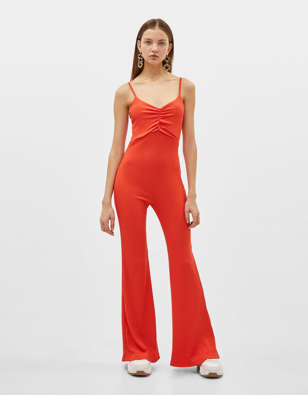 Strappy bell-bottom jumpsuit