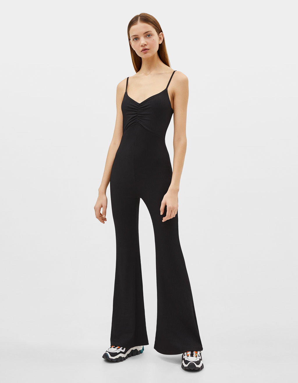 Long flared jumpsuit with straps