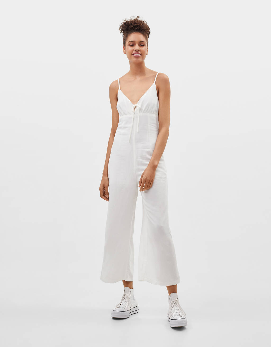 Linen jumpsuit with ties