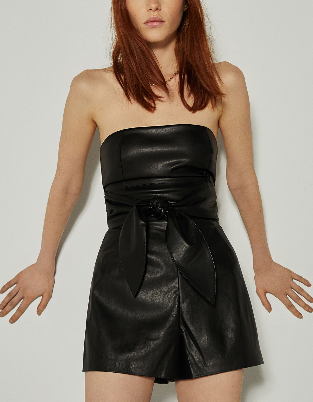Faux leather playsuit with tie detail