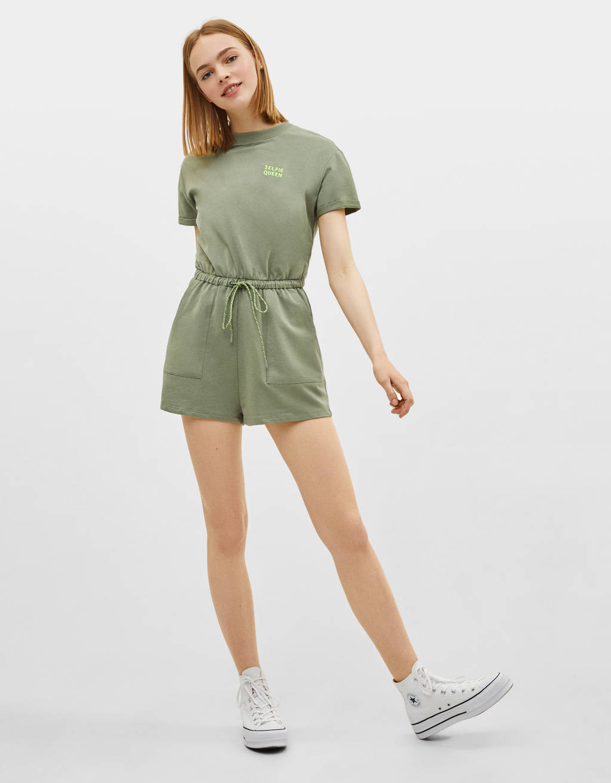 Plush short sleeve jumpsuit