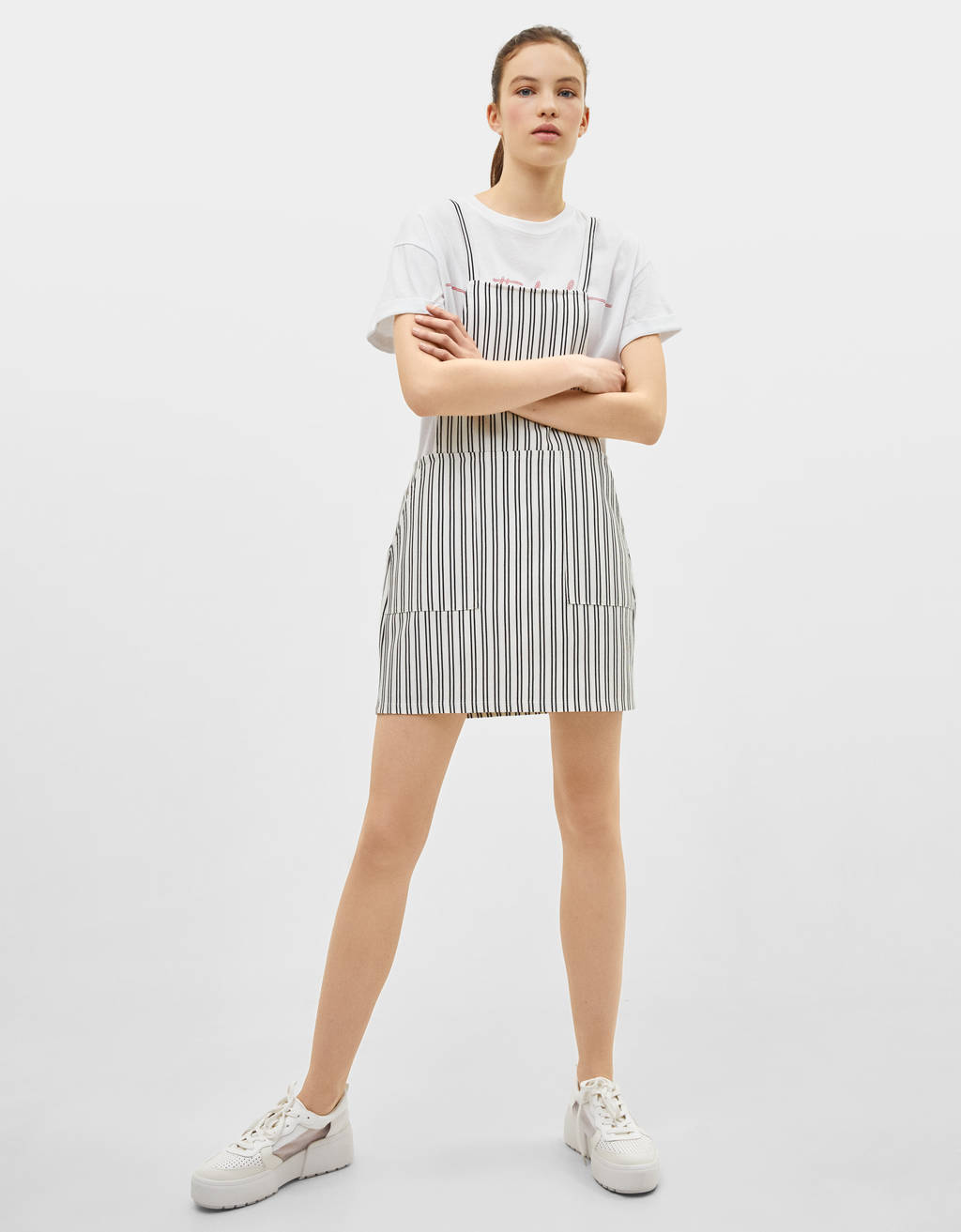 Stripe print pinafore dress