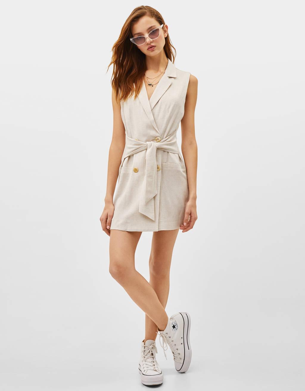 Μπλέιζερ τύπου φόρεμα με ζώνη