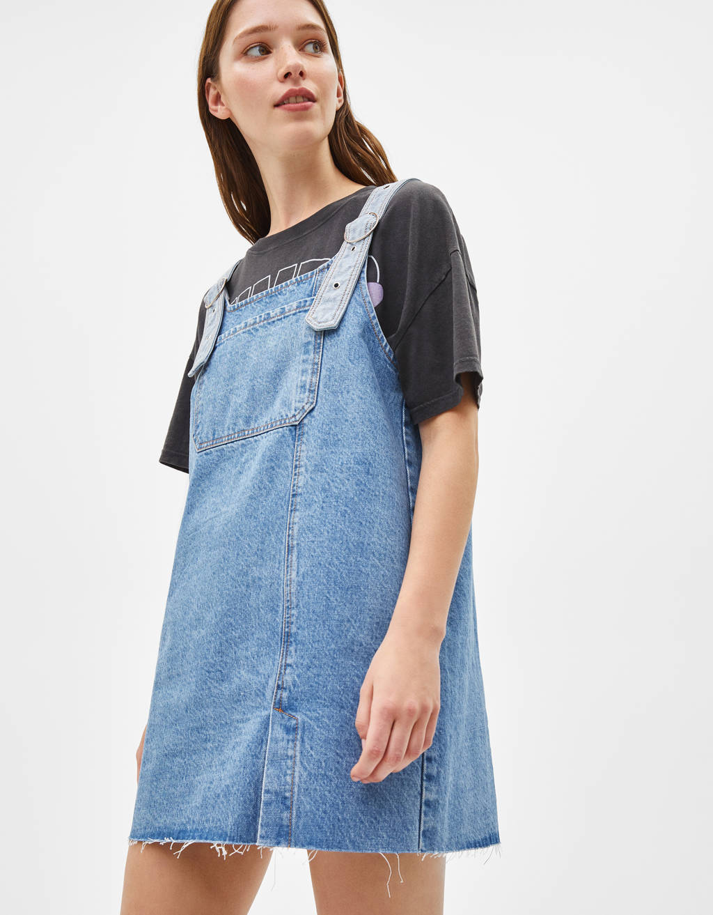 Denim pinafore dress with buckles