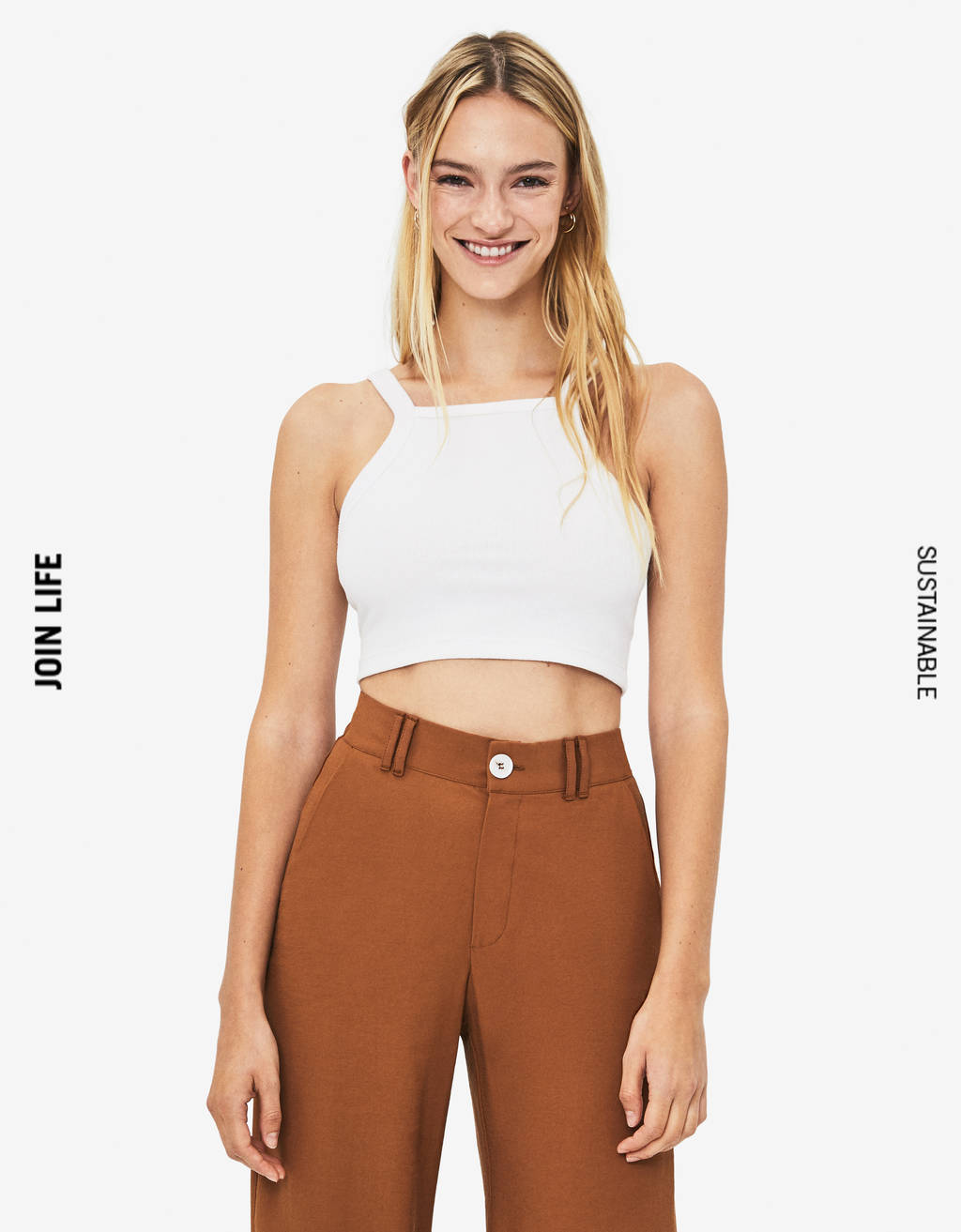 Cropped halterneck top